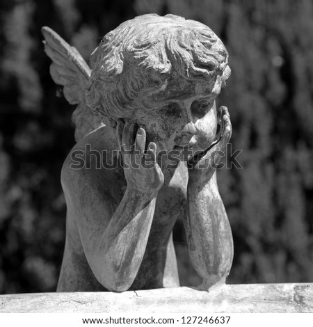figure of angel - detail of the fountain in garden of Villa Peyron in Fiesole, Florence, Tuscany, Italy, Europe