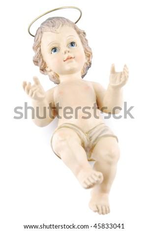 figure of baby jesus isolated on white background (isolated on black 128829406)