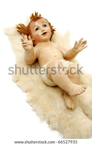 figure of child jesus on white background