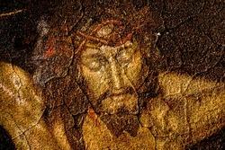 figure of Jesus Christ on vintage background