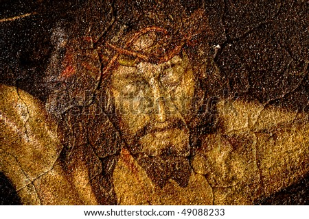 figure of Jesus Christ on vintage background - stock photo