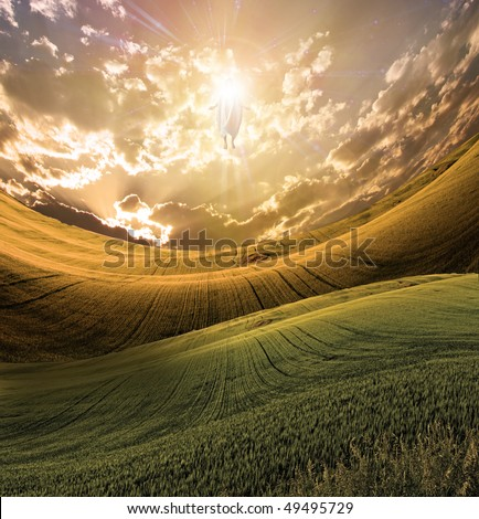 Figure of Light Appears in Sky over Beautiful Landscape