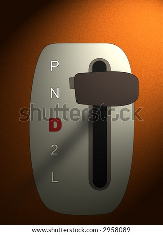 Figure of the lever of an automatic gearshift of the car