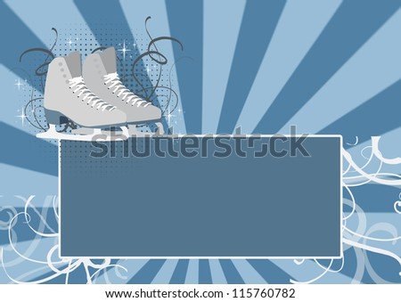 Figure Skating bacground, skate on ice background with space