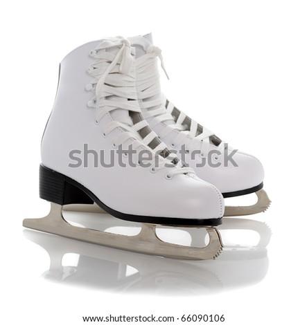 figure white skates isolated on white background - stock photo
