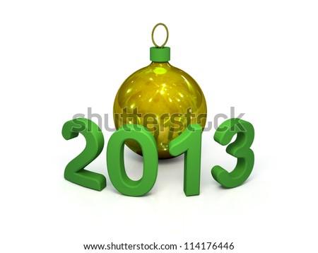Figures 2013 and a Christmas gold glass ball