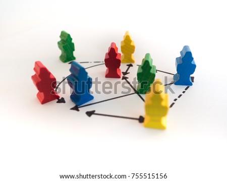 figures depicting relations between people, social behavior - group dynamics #755515156