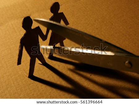 Figures of couple from paper and scissors. Photo stock ©