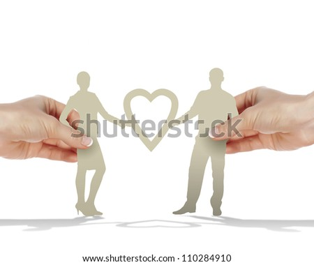 Figures of man and woman and heart symbol
