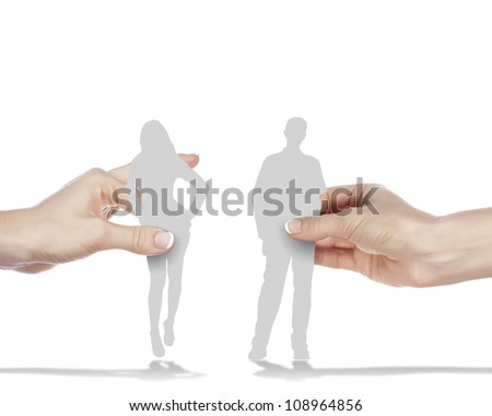 Figures of man and woman standing next to each other