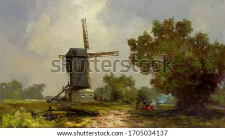 figures of people by the fire next to the mill and the tree,fine art, oil painting, windmill, landscape, sky, rural, nature