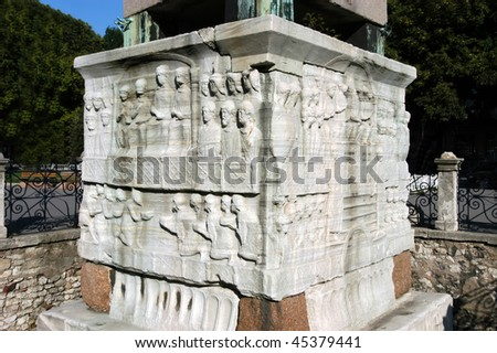 Figures on the base of egypt obelisk in Istanbul, Turkey