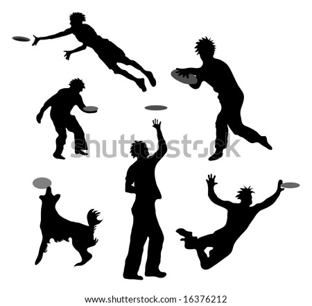 Figures playing with Frisbees - silhouettes