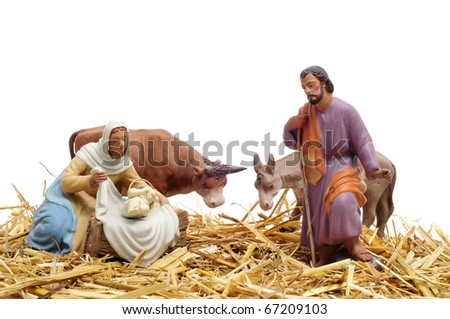 figures representing nativity scene on white background