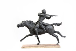 Figurine  horseman. Plasticine. On a white background