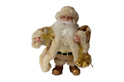 Figurine of Santa Claus in golden clothes holds a bell and a bag with gifts, on a white background isolate
