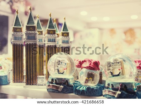 Figurines of attractions and Snowglobes - souvenirs from Venice, Italy