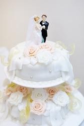 Figurines on top of wedding cake