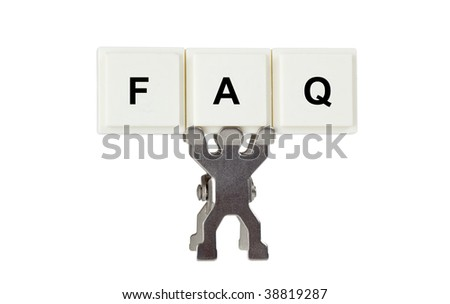 Figurines with FAQ isolated on white background