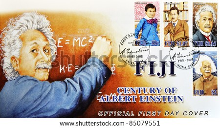 FIJI - CIRCA 2005: A stamp printed in Fiji Islands commemorating the centenary of Albert Einstein, circa 2005