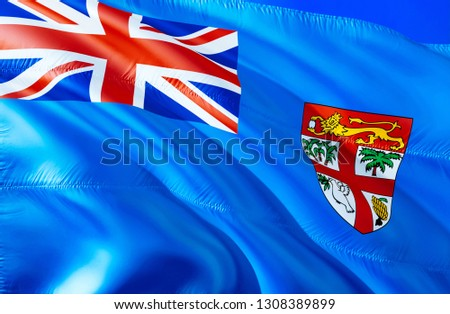 Fiji flag. 3D Waving flag design. The national symbol of Fiji, 3D rendering. National colors and National flag of Fiji for a background. Oceania sign on smooth silk