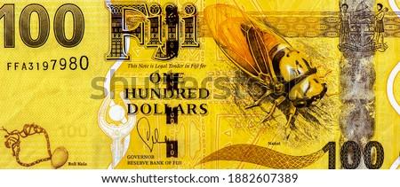 Fijian woman, Fijian man with guitar and a Fijian Indian lady in national dress. Fiji islands depicted as map meridian. Snorkelers. Yacht. Fish. Corals. Portrait from Fiji 100 Dollars 2012 Banknotes. Stock fotó ©