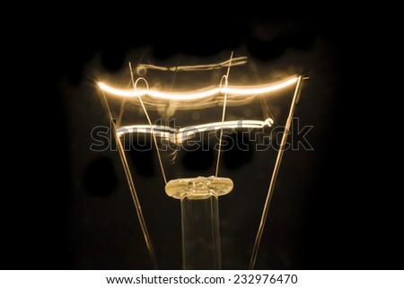 Filament Light bulb Closeup shot in The Dark