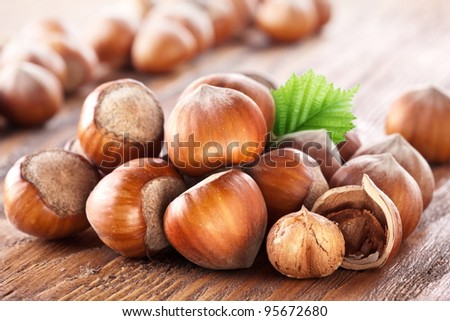 Filberts on a wooden table. Close-up shot.
