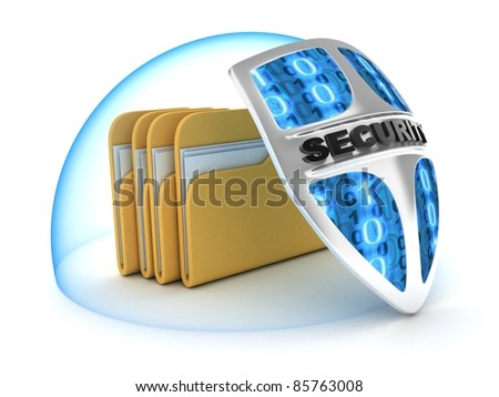 File and shield on white background (done in 3d)