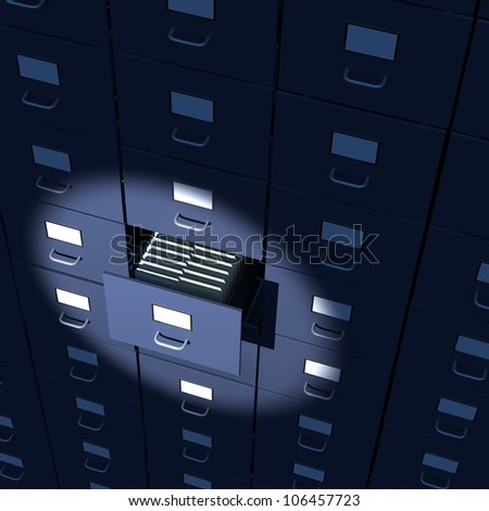 File cabinet drawer full of files close-up
