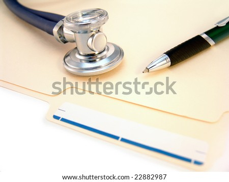 file folder, stethoscope and pen