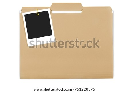 File Folder with Documents and Blank Polaroid #751228375