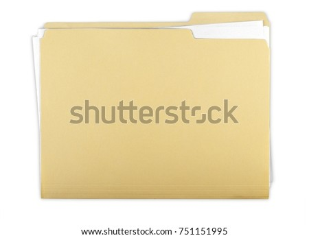 File Folder with Documents, Note and Blank Polaroid #751151995