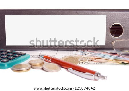 file folder with empty text box and euro money / file folder