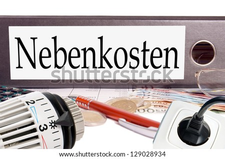 file folder with the german word additional costs / additional costs