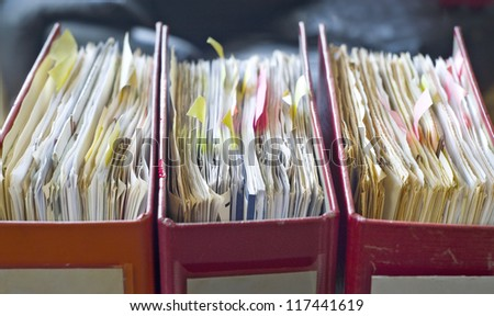 file folders, close up, selective focus
