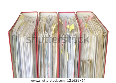 file folders close up, selective focus, isolated