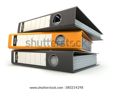 File folders or ring binders full with office documents isolated on white. 3d