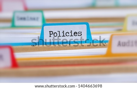 File folders with a tab labeled Policies Stock photo ©
