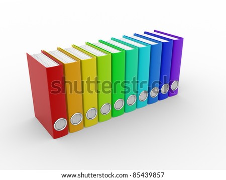 File folders with documents. 3d render illustration