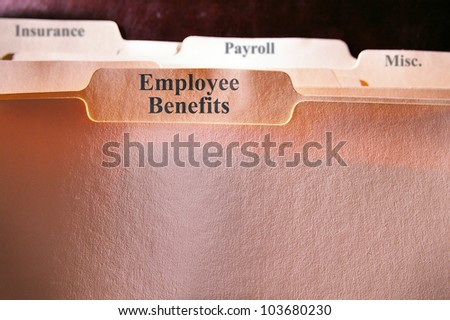 file folders with Employee Benefits text