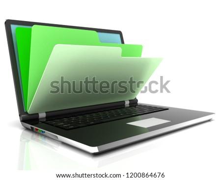 file in database - laptop and folders. 3d illustration