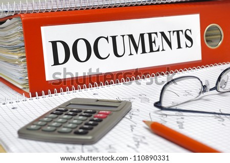 file marked with documents