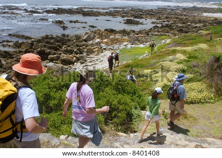 File of hikers walks down to sea beach next to awesome mountains. Shot near Strand, Pringle and Betties Bays, Western Cape, South Africa.