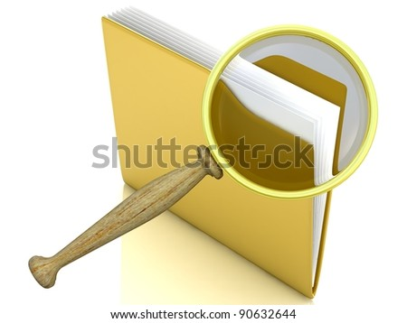 File search concept: folder and magnifying glass