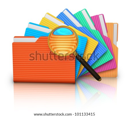 File search concept: group of color folders and magnifying glass isolated on white background with reflection effect