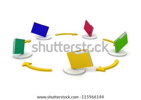 File sharing concept. 3d image