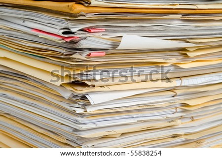 File Stack, file folder close up for background