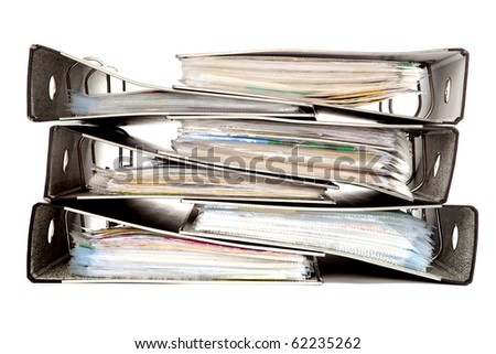 Files in a Pile on a White Isolated Background