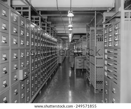 Files in the new National Archives Building, Nov. 22, 1939. In 1934, the National Archives began to centralize U.S. Government records, previously maintained in their various departments.